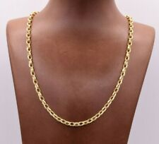 """20"""" Oval Charm Curb Bullet Chain Necklace Real 10K Yellow Gold"""