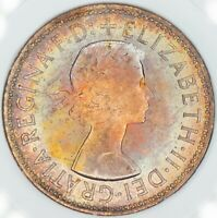 1966 GREAT BRITAIN 1 ONE PENNY GEM BU COLOR RAINBOW TONED UNC (DR)