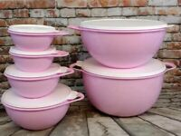 Tupperware Large 6 Piece Set Thatsa Light Pink Mixing Bowls With White Seal Lids