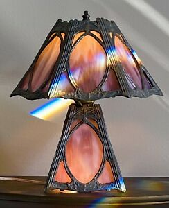 Antique Lead Art Nouveau 6 Panel Shade 4 Panel Base Purple Slag Glass Lamp GREAT