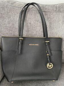 Genuine Michael Kors Jet Set Leather Tote Bag, Black. Medium