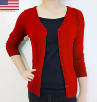 Plus Size Women Cardigan V-Neck  3/4 Sleeve Button Vintage Fitted Loose Knit