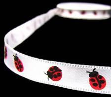 "5 Yds Little Lady Bugs White China Satin Ribbon 3/8""W"