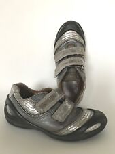 Ecco Halbschuhe grau silber verstärkte Schuhspitze Gr. 30 Klettverschluss