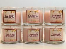 LOT 6 BATH BODY WORKS CRANBERRY PEAR BELLINI FILLED SCENTED 1.3 OZ MINI CANDLES