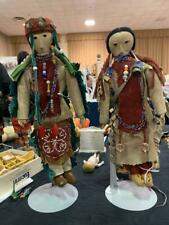 """2 Antique Sioux Native American Indian Dolls Large 14"""" Leather Beaded Papoose"""