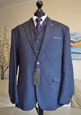 """CAVANI NEW Mens 3 Piece Suit, Jacket Waist Coat 50"""" & Trousers Navy Grey W44 L32"""