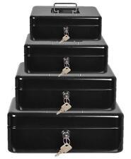 BLACK PETTY CASH BOX MONEY BANK DEPOSIT STEEL TIN SECURITY SAFE + 2 KEYS & TRAY