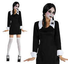 Childrens School Girl Fancy Dress Costume Miércoles Addams Halloween S