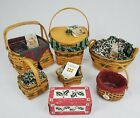 Vintage 6 Longaberger Tree Trimming Christmas Baskets And Pottery Votive Cups