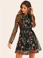 Black Floral Embroidered Mesh Long Sleeve Overlay Cocktail Dress Sz S M L XL