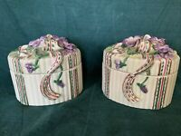Set Of 2 Vintage Fitz And Floyd  Small Jewelry Ceramic Keeper Purple Floral