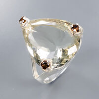 Green Amethyst Ring Silver 925 Sterling Special Sale Price Size 8.75 /R138192