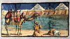 Vintage Tapestry Camel Desert Pyramid Velvet Rug Wall Hanging - Made in Italy