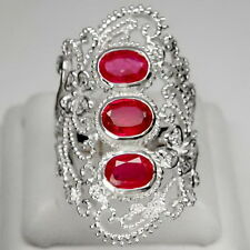 ASTONISHING!  RUBY 3PCS. 3.3CT. &  WHITE SAPPHIRE STERLING 925 SILVER RING #8.75