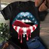 USA Flag Dipping Lips Licking Patriotic American 4th Of July Women Men Shirt