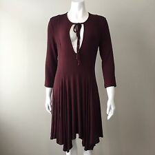 Free People FP Beach Long Sleeve Keyhole Ribbed Jersey Dress Maroon Size M 10-12