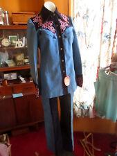 New 10-12 True Vtg 70s 2 Piece Suede/Denim Disco Western Bellbottom Top Outfit