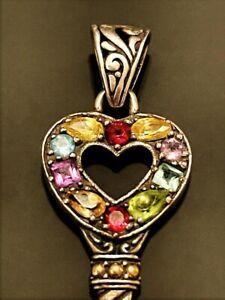 Vtg Sterling Silver 18k Gold Accent Multi Gemstones Pendant Heart Skeleton Key