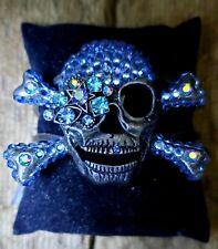 Gun-metal Hinged Crystal Skull Women's Bracelet