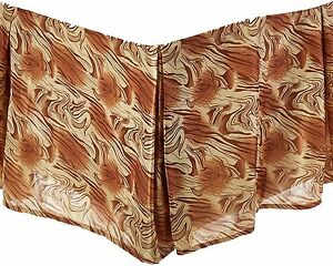 DaDa Bedding Swirly Soft Satin Champagne Yellow Beige Brown Pleated Bed Skirt