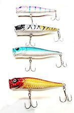 Lot of 4 New Fishing Lures Top water Popper, Crankbait