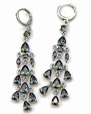 18K White Gold Filled - 2.6'' Waterdrop Mystic Topaz Wedding Chandelie Earrings