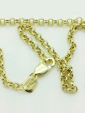 "10k Solid Yellow Gold Round Rolo Link Necklace Pendant Chain 16"" 2.3mm"