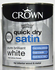 Crown 750ml Quick Dry Satin Paint Pure Brilliant White Interior Wood And Metal