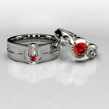 Solid 925 Sterling Silver with Round Ruby Center Anniversary Beautiful Ring Set