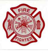 WHITE/RED Reflective Vinyl Decal Fire Dept maltese cross firefighter sticker