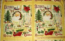 "Vintage Christmas Santa Nutcracker Sleigh Stockings Fabric 23""  #Y1010-2"