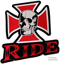 SKULL IRON MALTESE CROSS BIKER PATCH embroidered LARGE RIDE CHOPPER EVIL new
