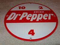 """VINTAGE DRINK DR PEPPER 10! 11 3/4"""" PORCELAIN METAL SODA POP GASOLINE & OIL SIGN"""