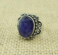Ethnic Indian Sapphire 925 Silver Ring UK Size O 1/2-US 7 1/2 Jewellery