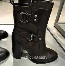 ZARA BROWN HEELED BOOTS WITH BUCKLE DETAIL SIZE UK 6 EUR 39 REF: 5117 001