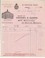 Crowdon & Garrod London 1930 Brush Manf. & Hardware Merchants Receipt Ref 39619