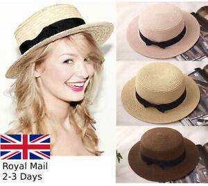 Women Ladies Straw Boater Hat Festival Summer Sun Beach Hat Cap