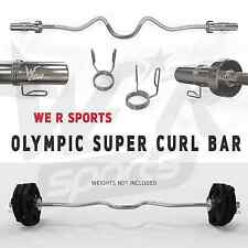 Olympic Super Curl Bar Weight Lifting With Spring Collars Gym Fitness EZ Barbell