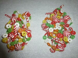 2 Vintage Blow Mold Candy Christmas Garland Life Savers Candy Canes 17 Feet