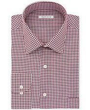 NWT $89 VAN HEUSEN Men WHITE RED REGULAR FIT CHECK BUTTON DRESS SHIRT 16 32/33 L