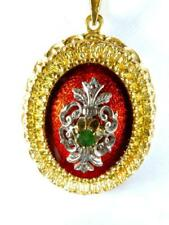 18K solid gold pendant Faberge Guilloche enamel heirloom necklace signed