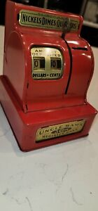 Vintage  Uncle Sam's metal 3 coin register bank nickels dimes quarters