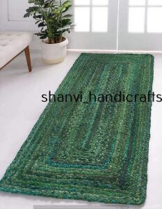 Handmade Braided Cotton Runner Rug Multi Green Color Home Décor Living 80x240 CM