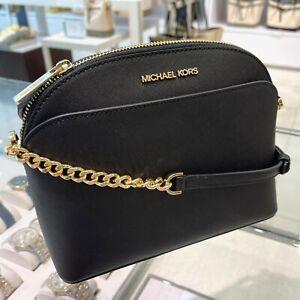 Michael Kors Jet Set Travel Dome Medium Crossbody Bag Saffiano Leather Black