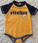Pittsburgh Steelers Football Boys Black Yellow Short Sleeve One Piece 3-6 Months