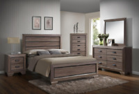 NEW Rustic Grey Brown Queen or King 5PC Bedroom Set Modern Furniture Bed/D/M/N/C