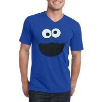 Cookie Monster Face V-Neck Adult T-Shirt