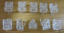10 x RJ11 6P4C TELEFONO crimpare tappi connettori alle estremità CAT 3 ADSL 4 PIN TELEFONO FAX