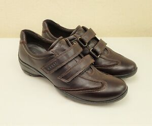 Ecco Size 38 5 Leather Touch Close Low Heel Shoes Comfort Trainers Dark Brown